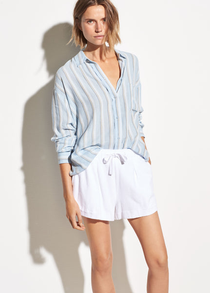 Textured Stripe Boxy Long Sleeve - Surf Mist