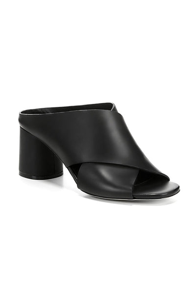 Theron Cross Strap Sandal - Black Leather