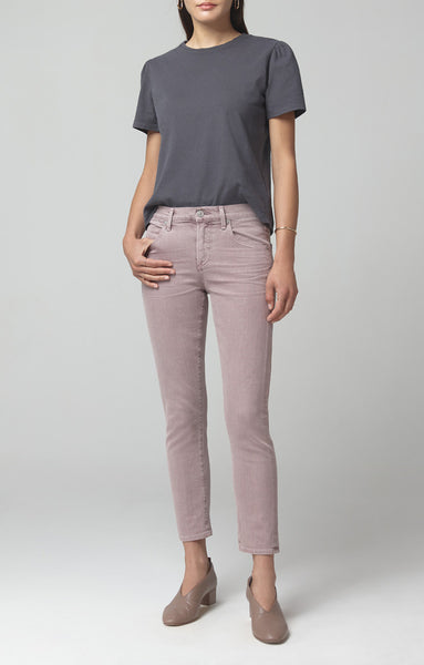 Elsa Mid Rise Slim Fit Crop - Thistle