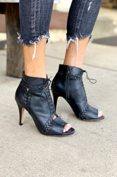 Magan Lace Up Peep Toe Bootie