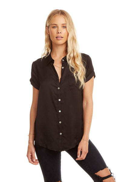 Silky Rolled S/S Button Down Shirt - True Black