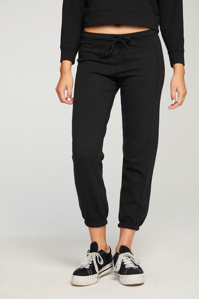 Cashmere Fleece Paneled Jogger - True Black