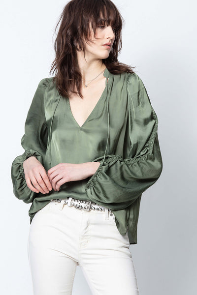 Twenty Satin Top - Khaki