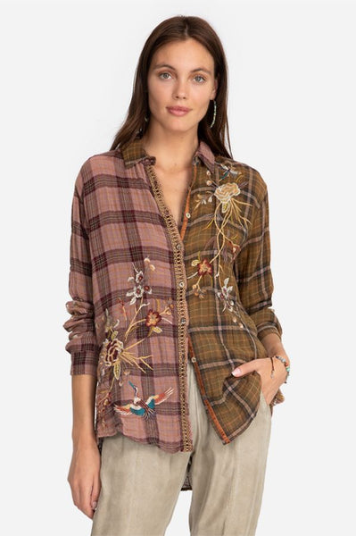 Varlese Mixed Plaid Oversized Shirt - Plaid