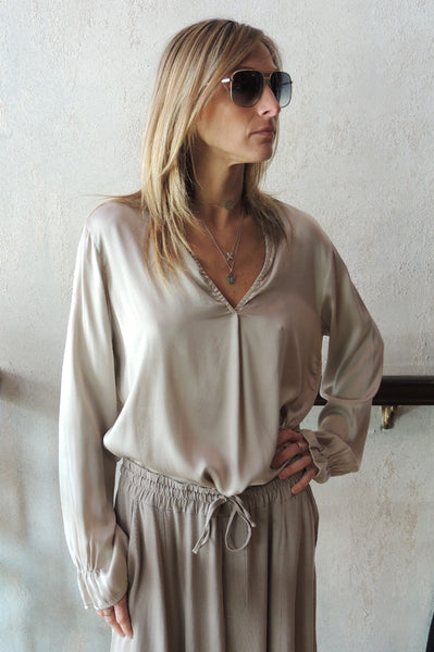 V Neck Blouse - Sand