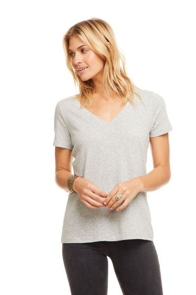 Cotton Basic Seamed Short Sleeve Tee - Heather Grey