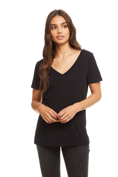 Cotton Basic Seamed Short Sleeve Tee - Black