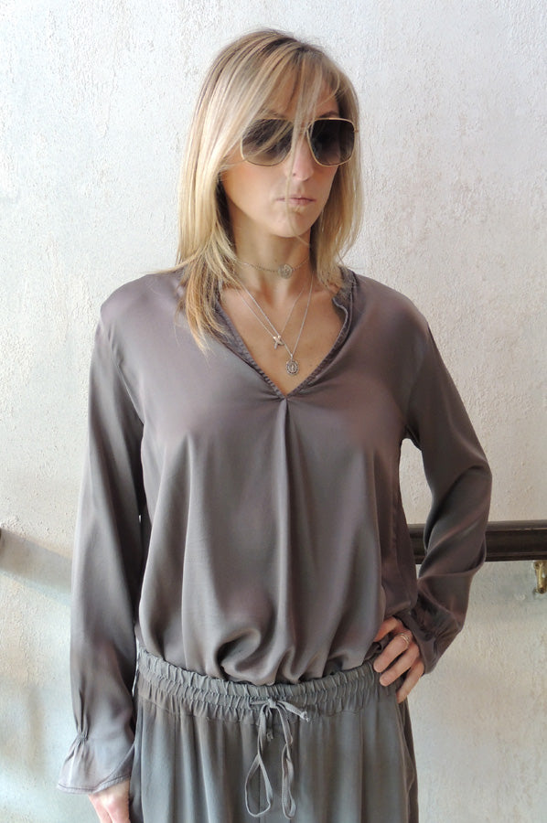 V Neck Blouse - Dark Grey