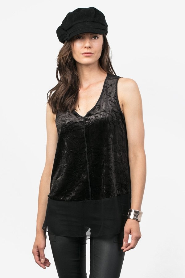 Crushed Velvet V-Neck Tank - Black