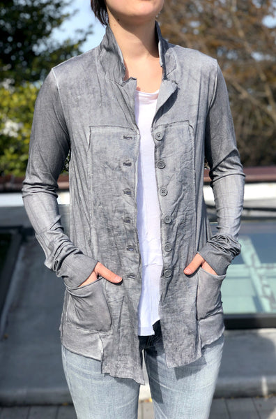 Button Up Jacket - Washed Grey