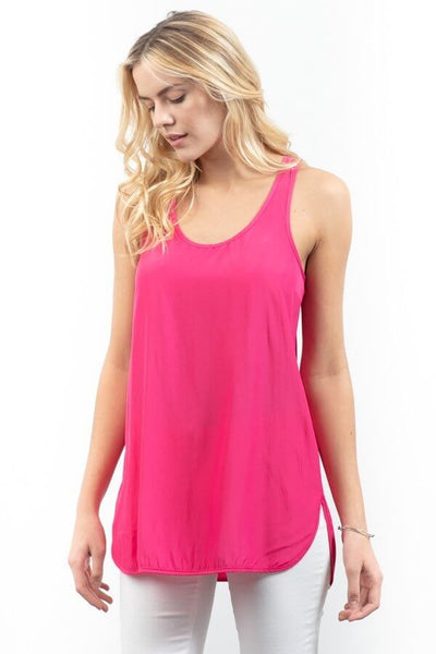 Racerback Distressed Satin Tank - Watermelon