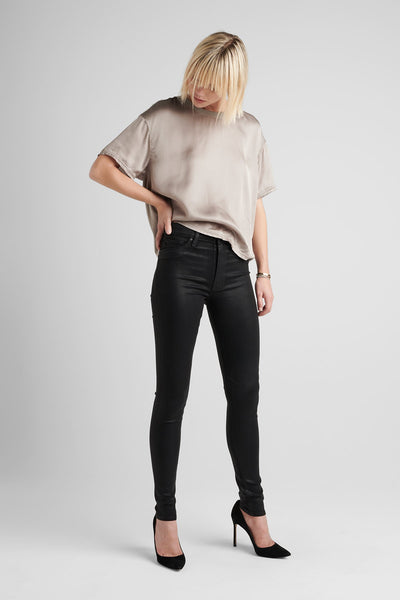 Barbara High Rise Super Skinny Coated Jean - Noir Coated 2