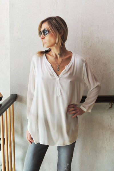Banded Collar V Neck Blouse - White