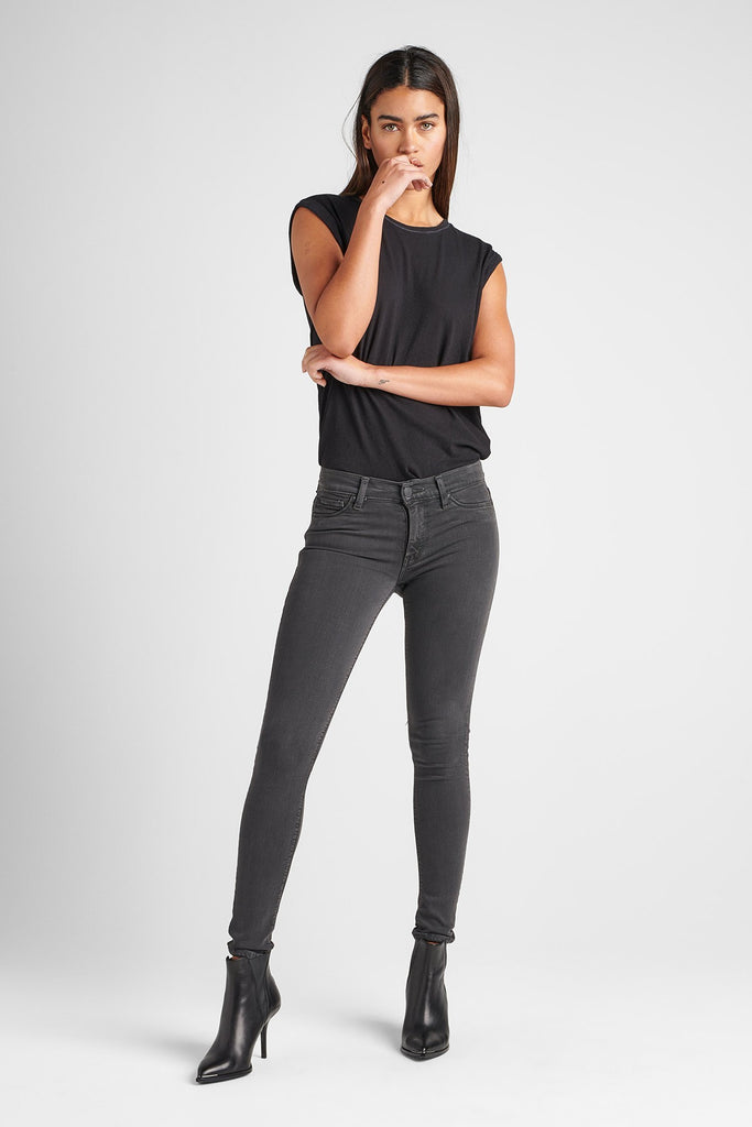 Nico Midrise Super Skinny Jean - Distressed Graphite