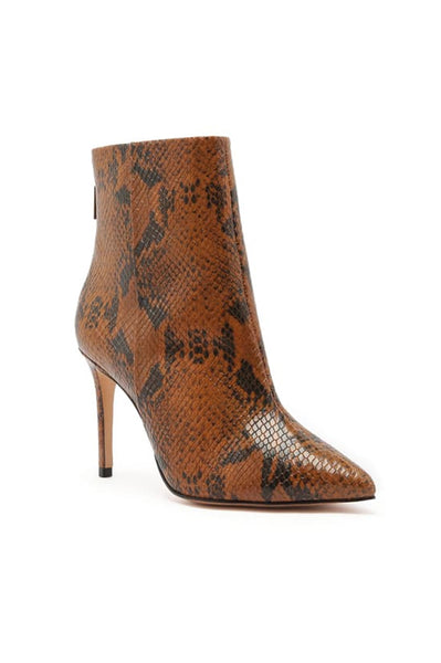 Michela Leather Snakeskin Print Boots - Wood / Black