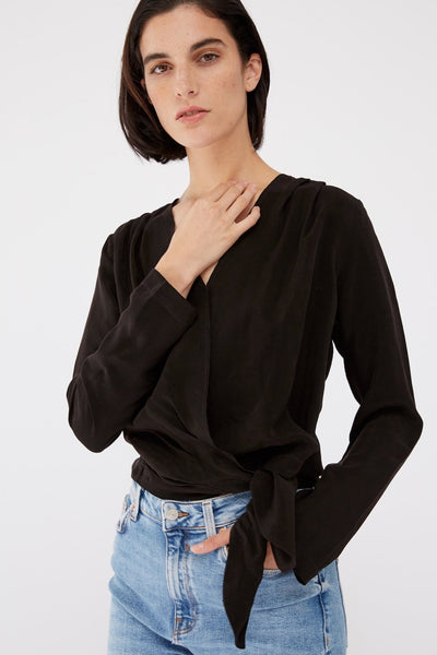 Cupro Long Sleeve Wrap Shirt - Black