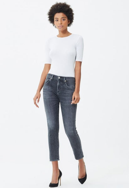 Elsa Mid Rise Slim Fit Crop - Wren