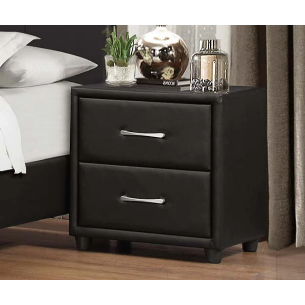2 Drawer Black Upholstered Faux Leather Nightstand