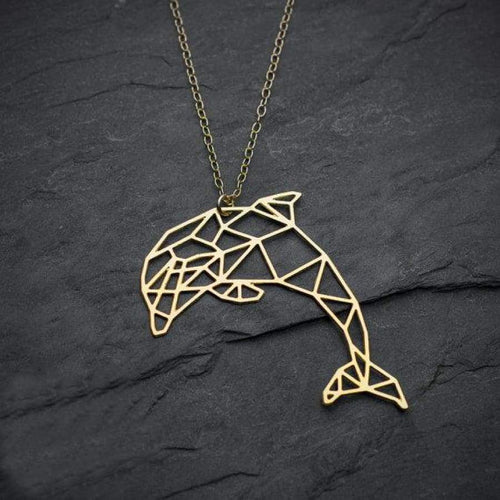 Dolphin Necklace ( Origami ) - Gold Color