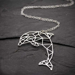 Dolphin Necklace ( Origami ) - Silver Color