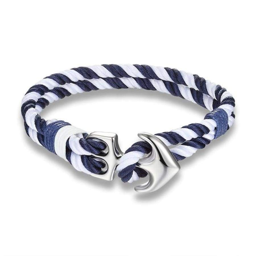 Nautical Anchor Bracelet - Navy&white