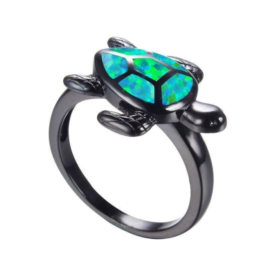 Premium Green Fire Opal Turtle Ring