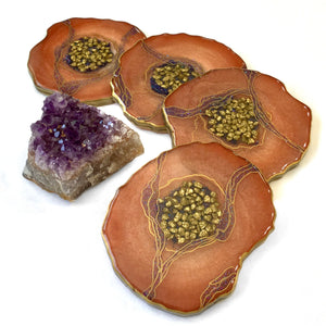 Rusty Orange Geode Coasters with Resin Art