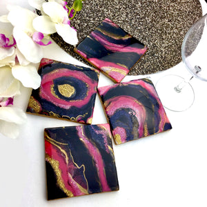 Hot Pink and Black Geode Inspired Coasters set - Mamota Creative