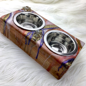 Small Elevated Double Stainless Steel Bowl Pet Feeder in Rusty Colors - Mamota Creative