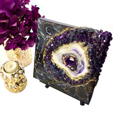 Load image into Gallery viewer, Mini 3D Black and Purple Plum Geode Wall Art with white and gold accents - Mamota Creative