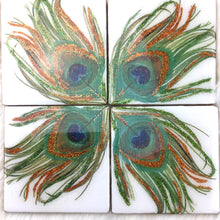 Load image into Gallery viewer, Peacock Feather Set of Coasters - Mamota Creative