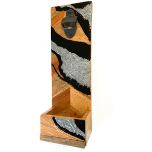 Wall Mounted Bottle Opener in Black and Silver Abstract Design