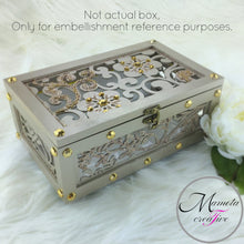 Load image into Gallery viewer, SMALL LASER CUT FLOWER JEWELRY BOX WITH PEARL EMBELLISHMENTS