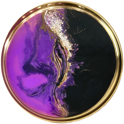 Round black and purple abstract art metal tray