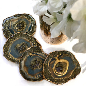 Blue Sparkle Resin Geode Coasters Set of 4