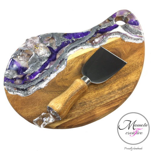 Tear Drop Serving Cheeseboard in Purple and Silver - Mamota Creative