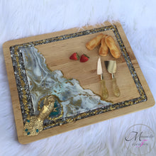 Load image into Gallery viewer, Resin Art with Glass Wooden Serving Board - Peacock - Mamota Creative