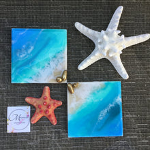 Load image into Gallery viewer, Hawaiian Beach Theme Resin Art Coasters with Gold Seashell Accents - Set of 4 - Mamota Creative