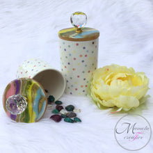 Load image into Gallery viewer, Resin Art on Polka Dot Ceramic Canisters - Set of 2 - Mamota Creative