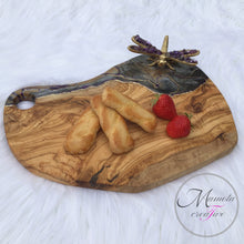Load image into Gallery viewer, Olive Wood Cheese Board with Resin Art and Purple Dragon Fly - Mamota Creative