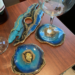 Geode resin art wine butler - Mamota Creative