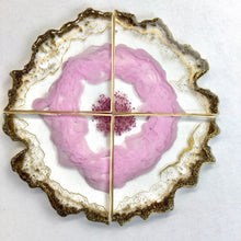 Load image into Gallery viewer, Pink Geode set of coasters in  resin - mamota creative