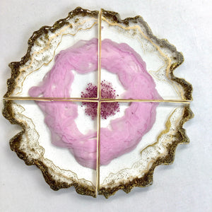 Pink Geode set of coasters in  resin - mamota creative