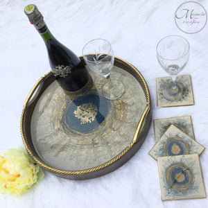 Resin Round Wooden Serving Decorative Tray with Matching Coasters Set - Mamota Creative