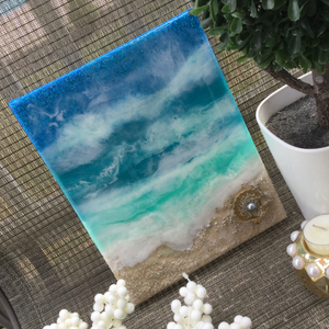 "Ocean Resin wall art ""Silver Pearl Water"" on canvas"
