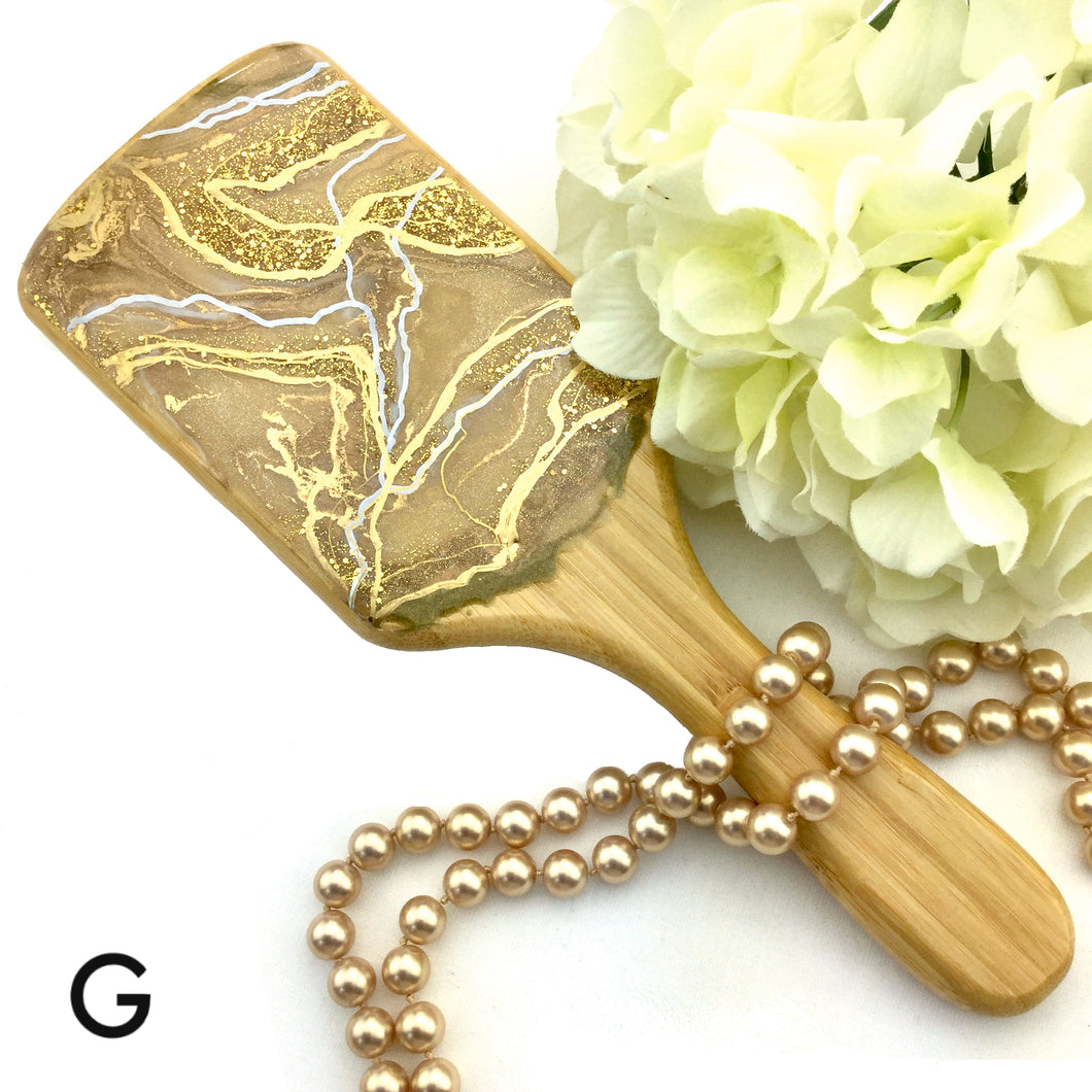 Champagne with gold and white resin art on detangling hairbrush - Mamota Creative