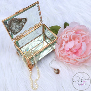 Resin Art and Crystal Quartz on Beveled Glass Jewelry Box with Copper Frame - Mamota Creative