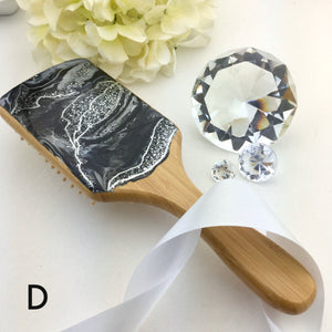 Detangling spa hairbrush with geode style resin art - Mamota Creative