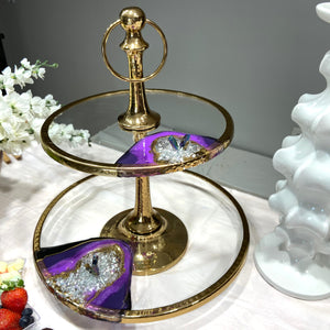 Large Two Tier Glass Stand with Resin Art