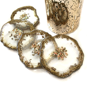 GOLD CONFETTI AND AB CLEAR RESIN COASTERS SET